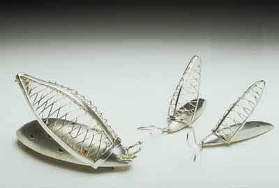 Chrysalis (brooch, earrings) 1996