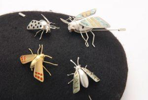 Small Yellow Moth & Small Brown Moth (pins)