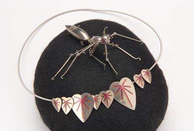 Pink Mantis (brooch & necklace)