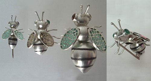 Small Bee pin, Medium and Big Bee brooch