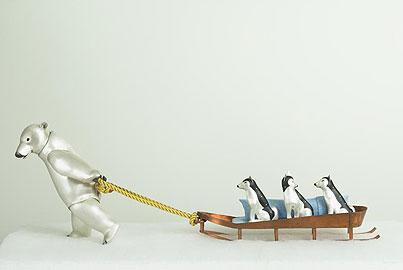 Polar Bear Pulling Dog sledge (sculpture)
