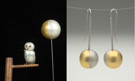 Moon on Stick (object/pendant) - silver, gold
