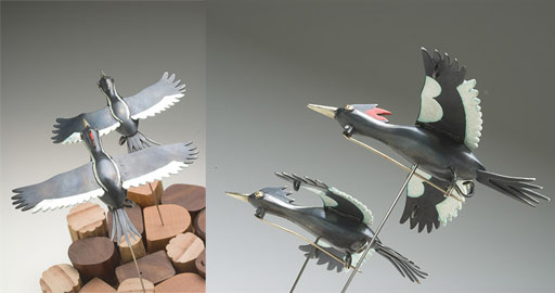 Flying Away (Ivory-billed woodpecker pair)