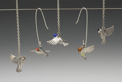 Paridae Taking Off, Paridae Landing (pendants, ear rings)