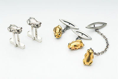 Chubby Frogs (cufflinks, lapel pin)